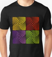 Colorful optical illusion with squares  T-Shirt