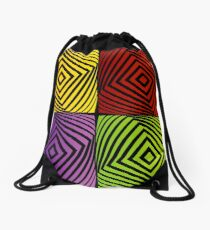 Colorful optical illusion with squares  Drawstring Bag