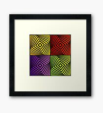 Colorful optical illusion with squares  Framed Print