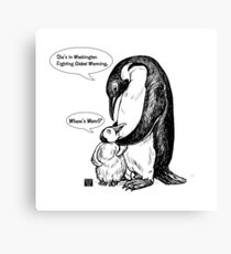 Penguin Awarness Dads Know Best Canvas Print