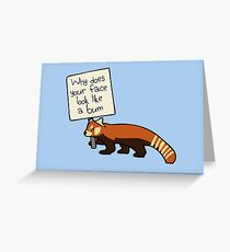 """Red Panda """"Why Does Your Face Look Like A Bum"""" Greeting Card"""