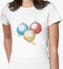 Happy Holidays Watercolour Christmas Baubles Womens Fitted T-Shirt