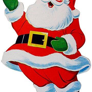 Retro Vintage Waving Christmas Santa Claus by hiway9