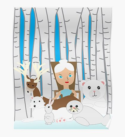 Mother Nature Winter Scene Poster