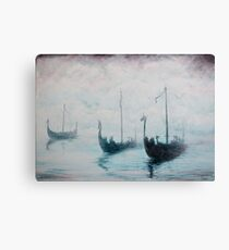 Viking ships from the mist Canvas Print