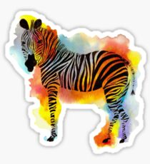 Think Zebras - Rainbow Watercolor Zebra Sticker