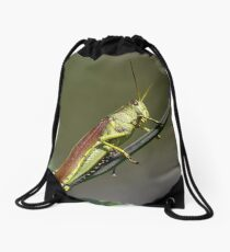 Grasshopper Portrait Drawstring Bag