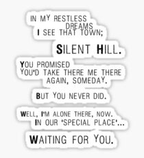 Pegatina Silent Hill - Mary's Letter (Texto)