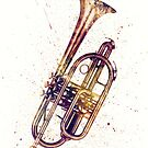 Cornet Abstract Watercolor by Michael Tompsett