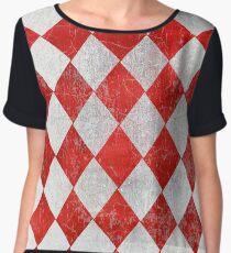 Red and White Diamonds  Women's Chiffon Top
