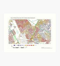 Multiple Deprivation Balham ward, Wandsworth Art Print