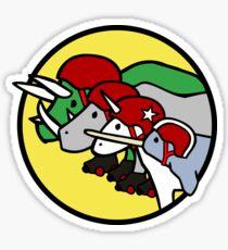 Horned Warrior Friends ROLLER DERBY (Unicorn, Narwhal, Rhino, Triceratops) Sticker