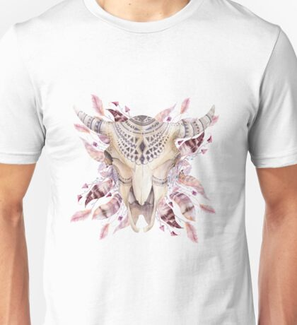Cow skull with feathers T-Shirt
