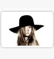 LIttle girl posing like a model in mother's hat, isolated on white background Sticker