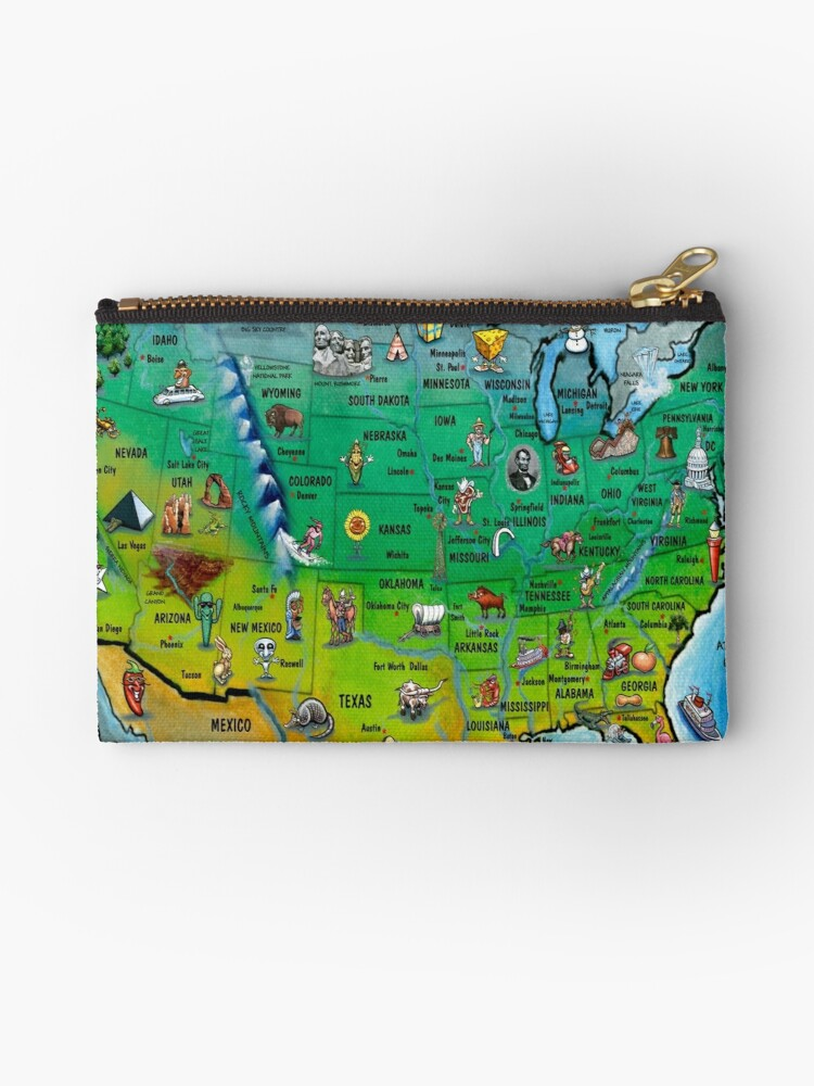 Usa Cartoon Map Studio Pouches By Kevin Middleton Redbubble - Cartoon-map-of-the-us
