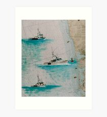 NORTHERN STAR Crab Boats Cathy Peek Nautical Chart Map Art Print