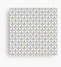 Seamless nautical pattern with blue anchors and rope on white background Canvas Print