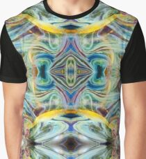 Aqua Yellow Psychedelic Abstract Bubble Graphic T-Shirt