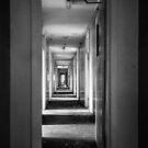 Stripy Corridor - B&W version by Through the Brass Lens