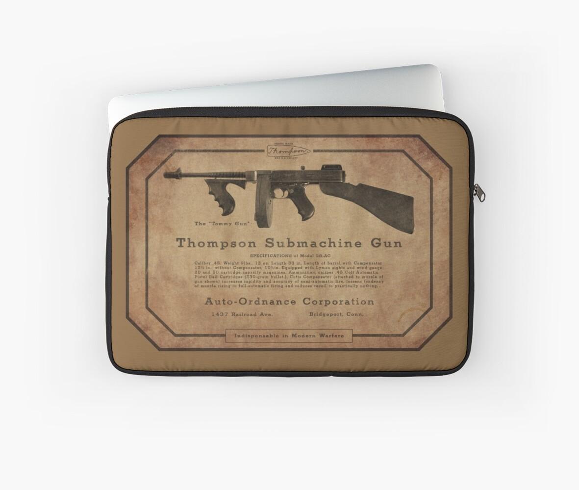 'Thompson Submachine Gun ' Laptop Sleeve by AKindChap