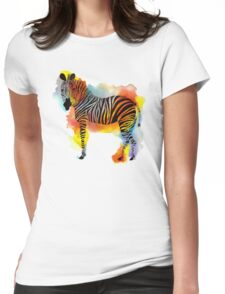 Think Zebras - Rainbow Watercolor Zebra Womens Fitted T-Shirt