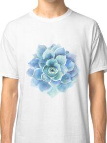 Watercolor blue tones succulent illustration Classic T-Shirt