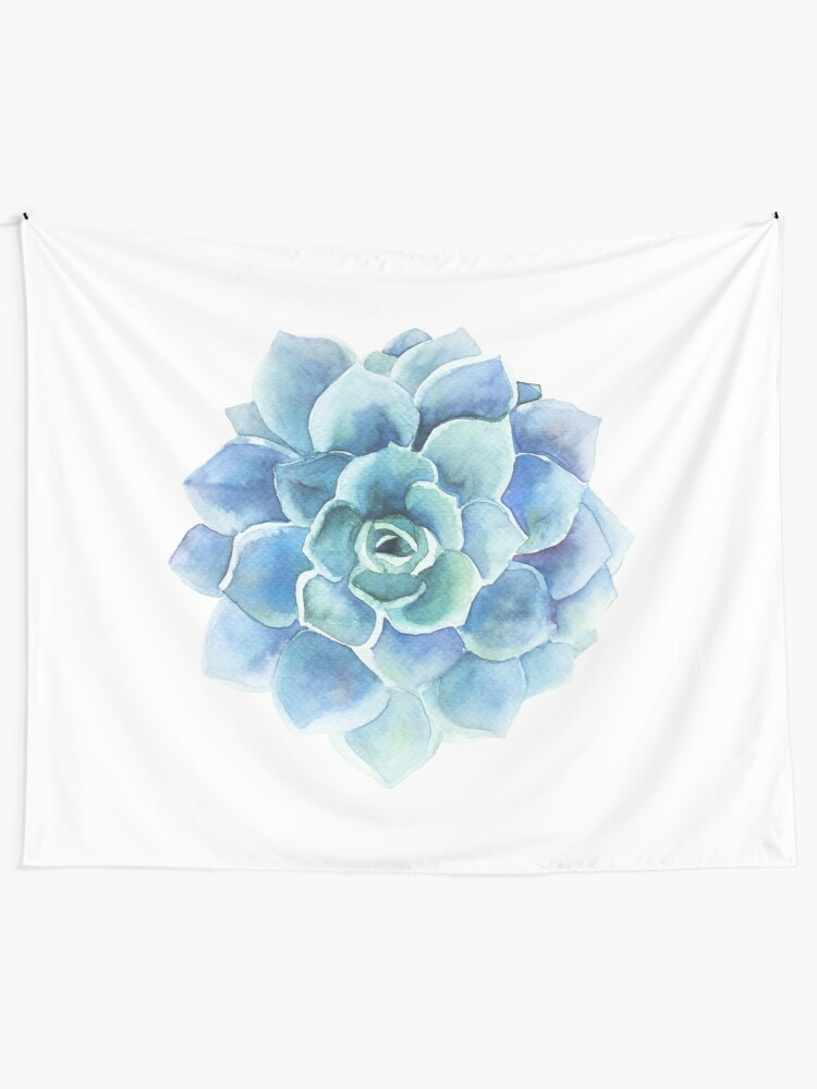 Alternate view of Watercolor blue tones succulent illustration Tapestry