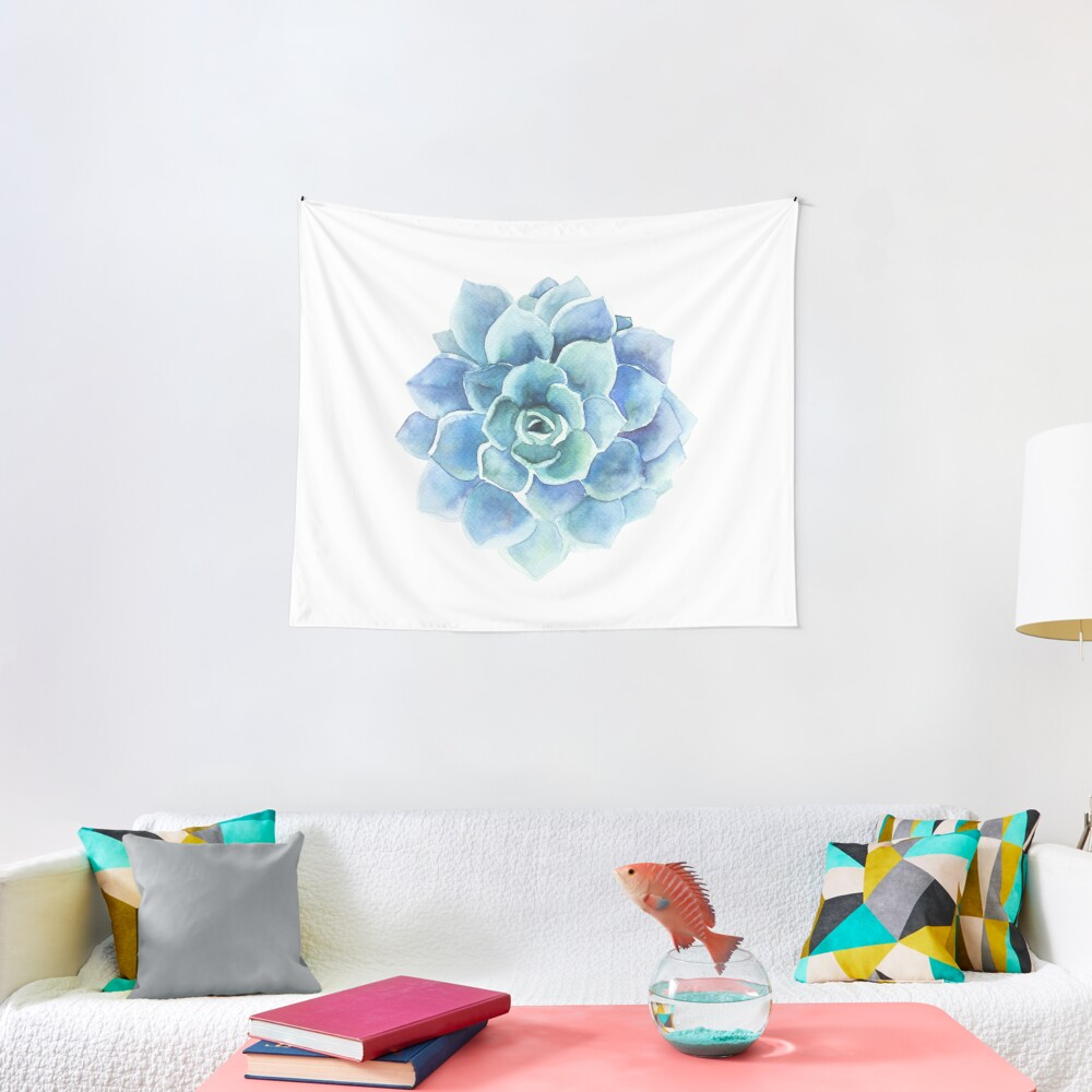 Watercolor blue tones succulent illustration Tapestry