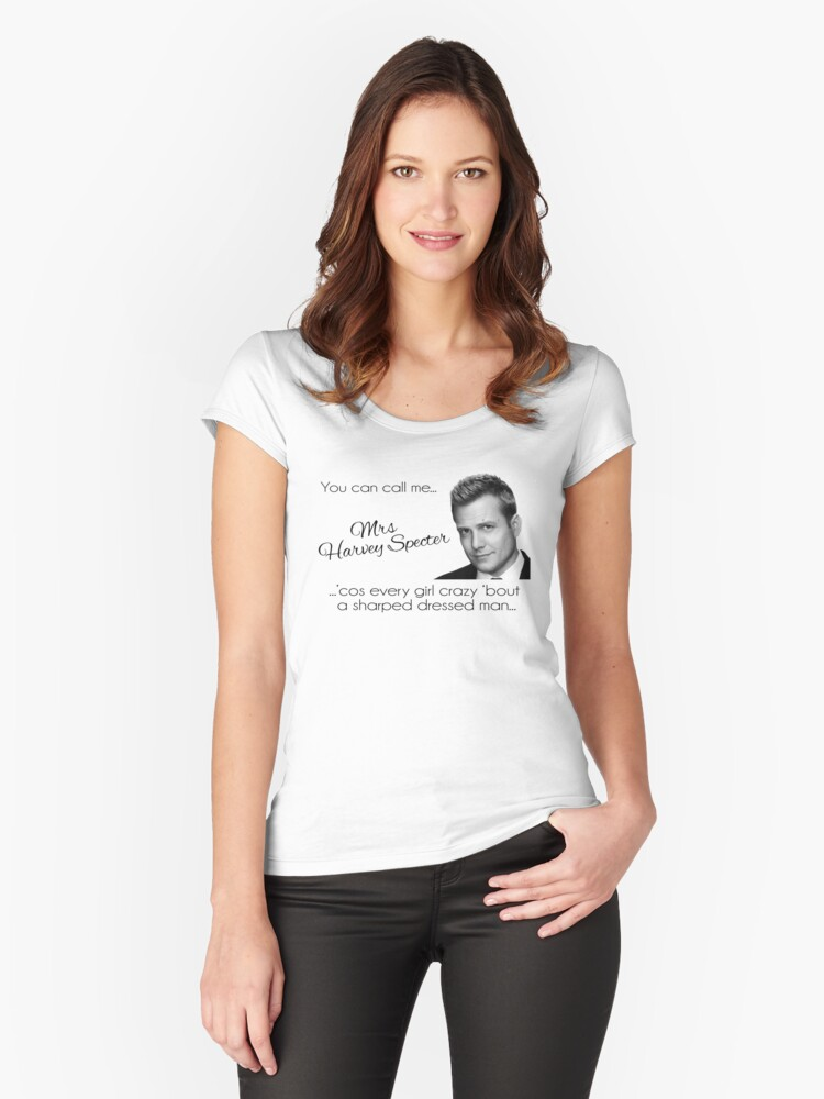 Harvey Specter - that's Mrs Harvey Specter to you Women's Fitted Scoop T-Shirt Front