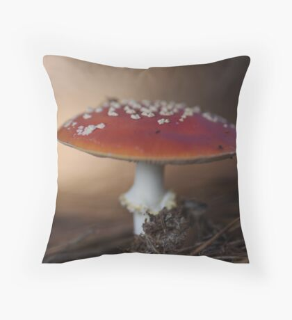 There is a fairy under the toadstool Throw Pillow