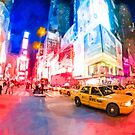Times Square At Night Art - New York City Yellow Cabs by Mark Tisdale