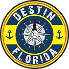 DESTIN FLORIDA NAUTICAL COMPASS ANCHOR BEACH OCEAN ROUND by MyHandmadeSigns