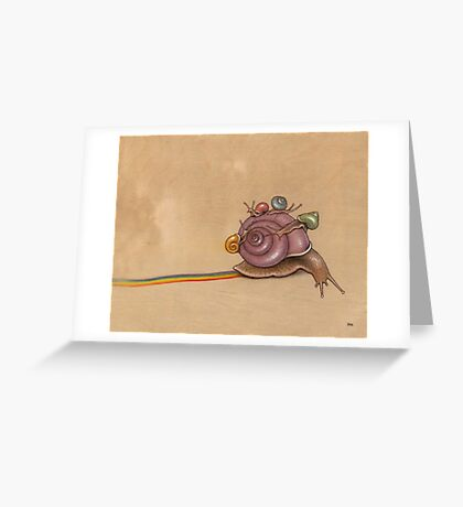 Snail Ride (purple) Greeting Card