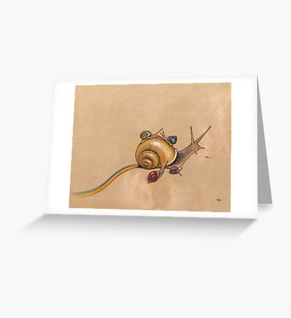 Snail Ride (yellow) Greeting Card