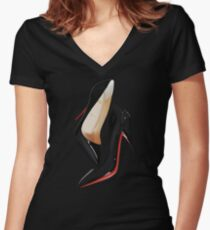 Louboutin shoes  Women's Fitted V-Neck T-Shirt