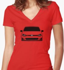 MK7 Golf GTI Front Women's Fitted V-Neck T-Shirt