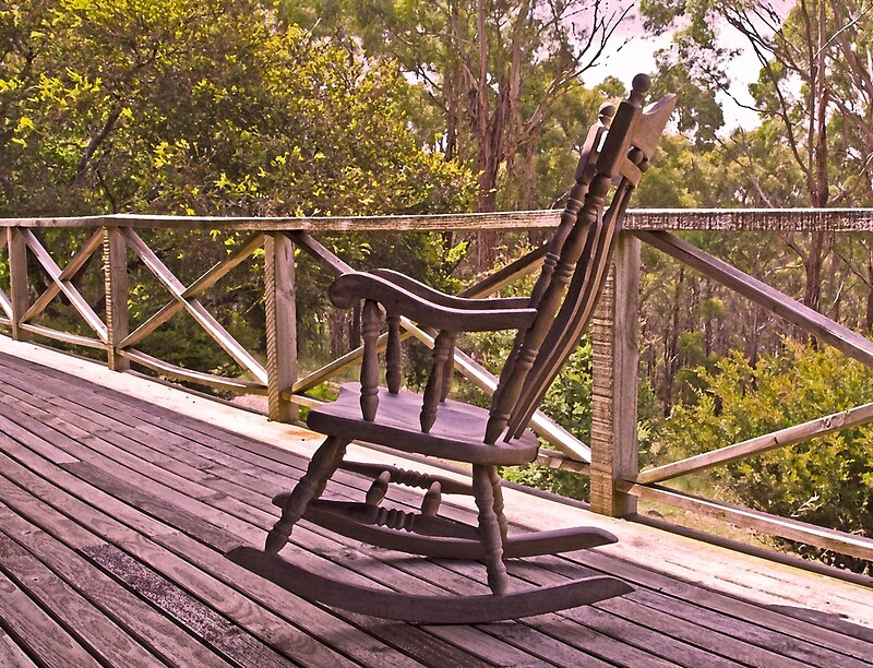 Pleasant Home Among The Gumtrees And An Old Rocking Chair Art Print Bralicious Painted Fabric Chair Ideas Braliciousco