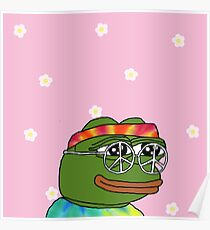 Peace Pepe w/ flowers Poster