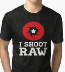 I Shoot RAW - Funny Photography Photographer Gift T-Shirt Tri-blend T-Shirt