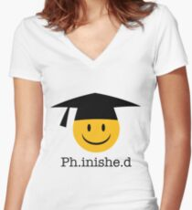 Ph.inishe.d Phd Doctoral Cap Smiley Women's Fitted V-Neck T-Shirt