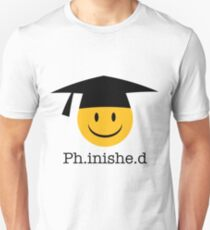 Ph.inishe.d Phd Doctoral Cap Smiley Unisex T-Shirt