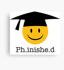 Ph.inishe.d Phd Doctoral Cap Smiley Canvas Print