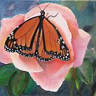 'Monarch Butterfly and Rose', Oil on Canvas, Painting. by Rita Blom