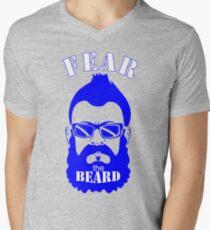 BRIAN WILSON FEAR THE BEARD Soft T-Shirt LA Dodgers Los Angeles MLB GREY TEE Mens V-Neck T-Shirt