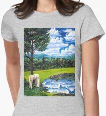 white horse named Sam Womens Fitted T-Shirt