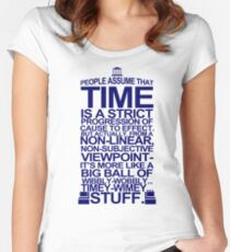 DOCTOR WHO TYPOGRAPHY T Shirt Doc Dr BBC Tardis Time Dalek New Tenth Timey Wimey Women's Fitted Scoop T-Shirt