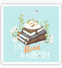 Eat, Read and Be Merry with Snow Globe Sticker