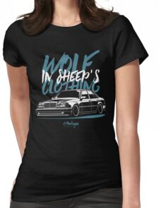 Wolf in Sheep's Clothing. Mercedes E500 W124 Womens Fitted T-Shirt