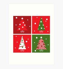 Christmas Trees design blocks icons Art Print