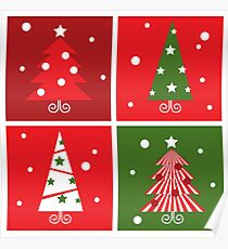 Christmas Trees design blocks icons Poster